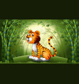 tiger in bamboo forest vector image vector image
