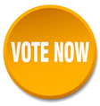 vote now orange round flat isolated push button vector image vector image