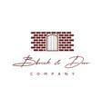 wall brick and wooden door logo design inspiration vector image