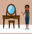 young woman with dressing table character scene vector image