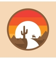 Cowboy on a horse in the desert cactus sunset vector image