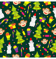 Seamless pattern with decorated trees and gifts vector image
