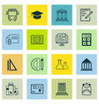set of 16 school icons includes e-study vector image