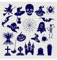 Halloween elements sketch on notebook background vector image