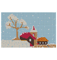 Embroidery pattern Christmas town and trees vector image