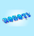 3d isometric word robot neon blue color effect vector image vector image
