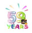 59th years anniversary card with cake vector image vector image