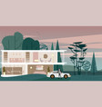 background with full glazing cottage vector image