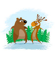 bear and elk vector image vector image