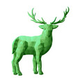 beautiful green low poly with deer vector image