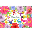 beautiful happy easter card with bunny and floral vector image vector image
