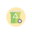 bin recycle waste with wheel green energy block vector image