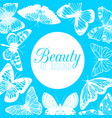 blue template with butterflies in hand-drawn style vector image vector image