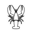 craw fish black color icon vector image vector image