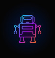 cute robot colorful icon or logo in thin vector image