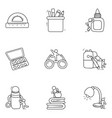 designing tools line icons pack vector image vector image