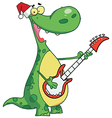 Dinosaur Plays Guitar With Santa Hat vector image vector image