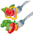 Fresh vegetable mix on fork vector | Price: 3 Credits (USD $3)