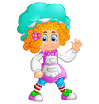 girl waving hand cartoon vector image