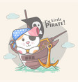 hand drawn cute pirate cat for kids vector image