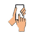 hand holding smartphone icon image vector image vector image