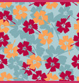 hibiscus floral seamless pattern background white vector image
