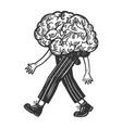 human brain walks on its feet engraving vector image