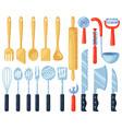 kitchen utensils kitchenware cutlery tools vector image vector image