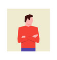 man stands with arms folded vector image vector image