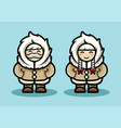 old eskimo cute couple in cartoon style arctic vector image