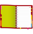 open agenda book with copy space and markers vector image