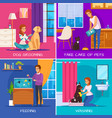 people with pets 2x2 design concept vector image vector image