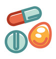 pills in various shapes and colors set isolated on vector image vector image