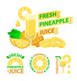 pineapple juice badge emblems vector image vector image