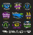 scuba diving emblems vector image