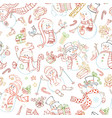 seamless pattern of cute snowmen vector image