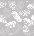 seamless pattern with white leaves on gray vector image vector image