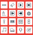 set of 16 music icons includes audio mobile vector image vector image