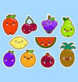 set of fruits smiley face kawaii vector image vector image