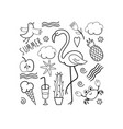 set of summer doodles vector image vector image