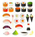 set of sushi and rolls of bright colors vector image