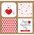 set with dog on heart and patterns vector image vector image
