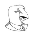 south island takahe wearing tie drawing black and vector image vector image