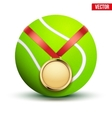 Sport gold medal with ribbon for winning tennis vector image