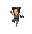sporty girl cartoon mascot vector image vector image