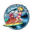 surfing t-shirt designsvolcano and blonde vector image