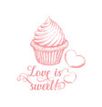 sweet love pinl calligraphy vector image