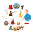 turkey travel icons set cartoon style vector image vector image