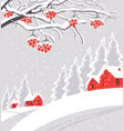 winter landscape with snow-covered village vector image vector image