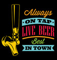 with beer tap and inscription vector image vector image